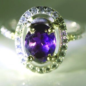 Jewelry - Amethyst 1.02ct Platinum Solid Silver Ring